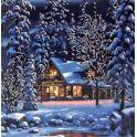 "Картина по номерам Рыжий кот ""Домик в зимнем лесу"", Х-7853, 31 х 40 см"