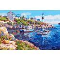 """Картина по номерам Рыжий кот """"Лодки в бухте"""", Х-7857, 35 х 40 см"""