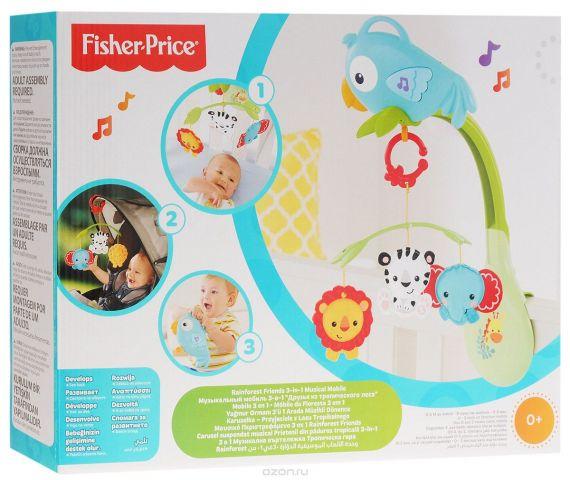 Fisher-Price Музыкальный мобиль 3 в 1 Друзья из тропического леса