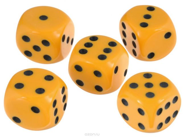 Набор игральных костей Компания Игра, 16 мм, цвет: желтый, 5 шт