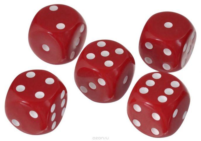 Набор игральных костей Компания Игра, 16 мм, цвет: красный, 5 шт