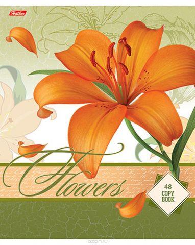 Hatber Тетрадь Дарите девушкам цветы 48 листов в клетку цвет оранжевый