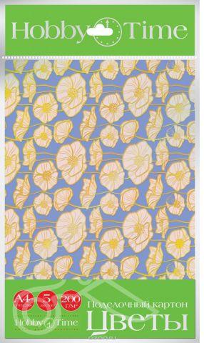 Альт Набор цветного картона Цветы 5 листов
