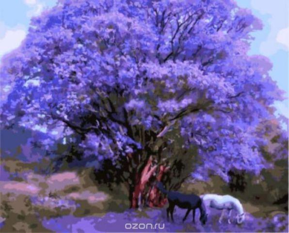 """Набор для рисования по номерам Цветной """"Две лошади под сиреневым деревом"""", 40 x 50 см"""