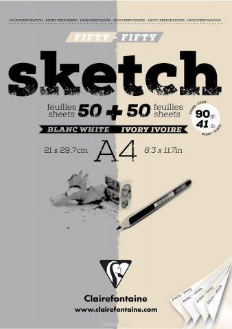 """Блокнот Clairefontaine """"Sketch"""", для сухих техник, цвет: серый, бежевый, формат A4, 100 листов"""