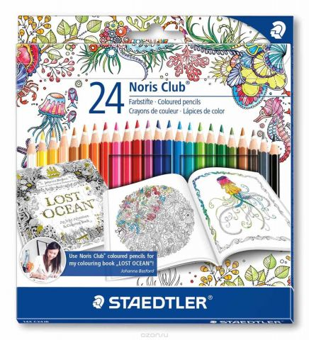 Staedtler Набор цветных карандашей Noris Club Johanna Basford 24 цвета