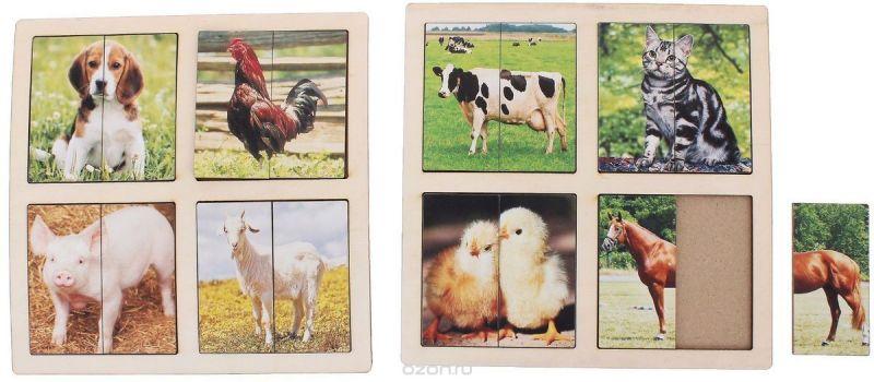 Smile Decor Пазл для малышей Картинки-половинки Домашние животные 1187596
