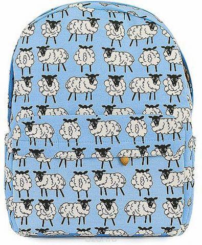 """Рюкзак женский Kawaii Factory """"Овечки"""", цвет: голубой, белый. KW102-000319"""