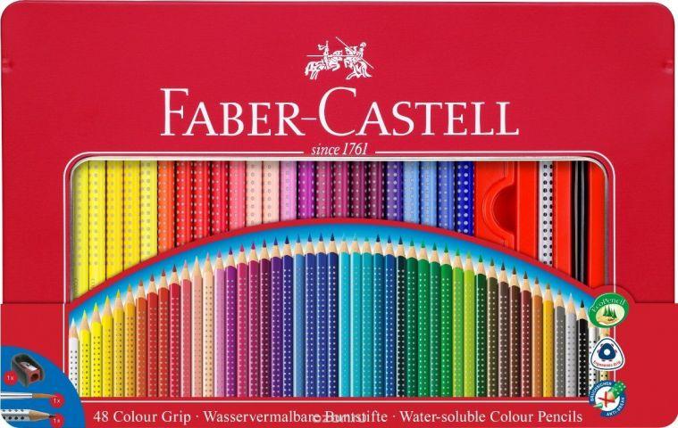 Faber-Castell Набор цветных карандашей Grip 2001 48 цветов + Карандаш чернографитовый + кисточка + точилка
