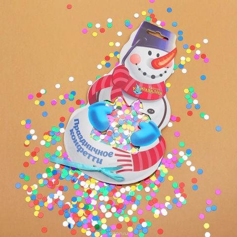 """Конфетти на открытке Страна Карнавалия """"Снеговик"""""""