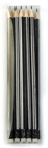 Calligrata Карандаш чернографитный Полоски с ластиком твердость HB цвет корпуса черный серый 2864380