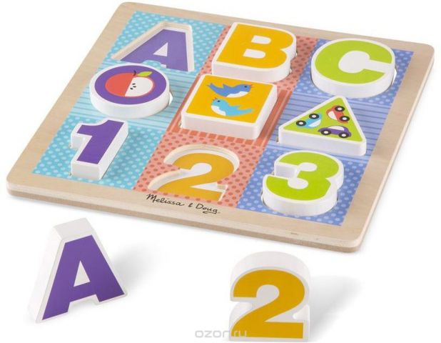 Melissa & Doug Пазл для малышей Мои первые пазлы Буквы и цифры