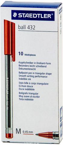 Набор шариковых ручек Staedtler Ball 432 M, цвет чернил: красный, 10 шт