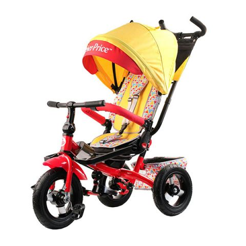 FISHER PRICE HF9Y Велосипед с руч.управ. повор.наклон.сидение с коляс.крыш. надув.колеса12/10,желтый